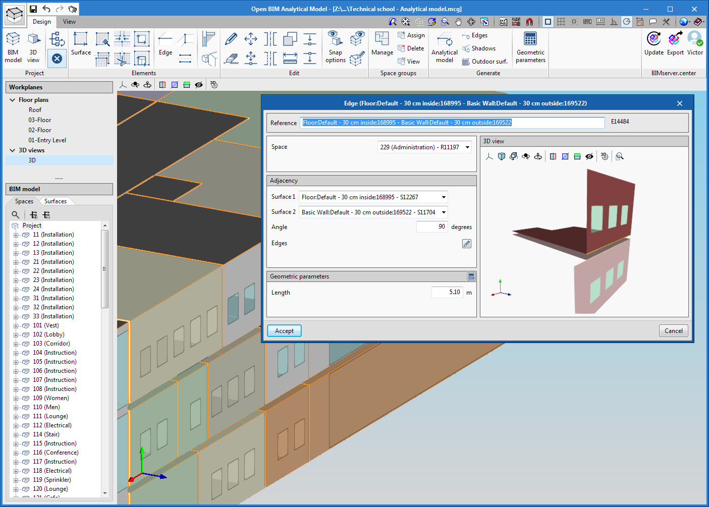 Open BIM Analytical Model. Generation of analytical geometric models for energy and acoustic analysis